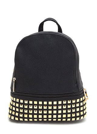 Jet Set Studded Faux Leather Backpack