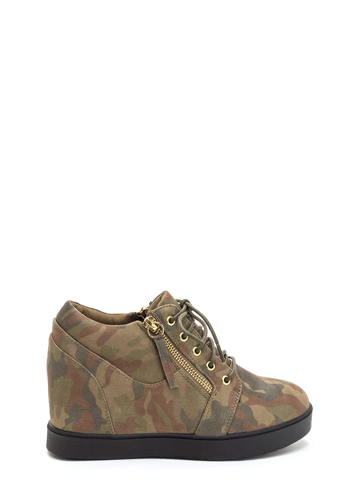Camo Content Zippered Sneaker Wedges