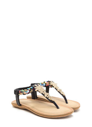 True Gem Faux Leather T-Strap Sandals