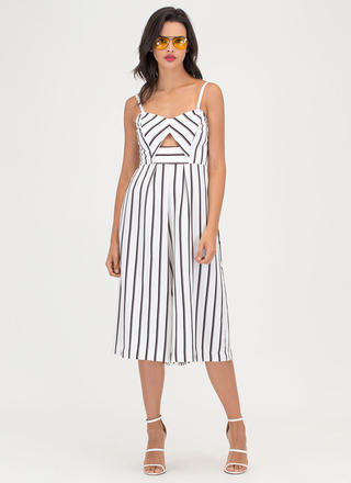 Serious Stripes Cropped Palazzo Jumpsuit