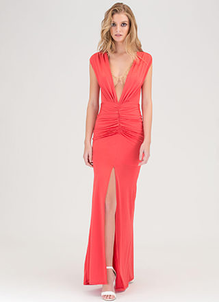 Plunge In Ruched Slit Maxi Dress