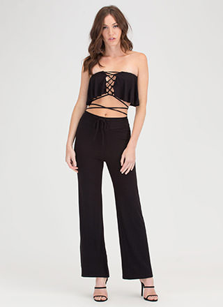 Easy Vibe Lace-Up Top 'N Pants Set