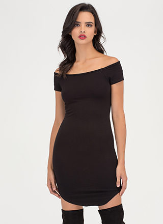 In The Moment Off-Shoulder Mini Dress
