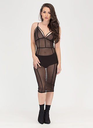 After Midnight Sheer Caged Bodycon Dress