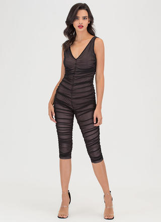 One 'N Done Plunging Ruched Jumpsuit