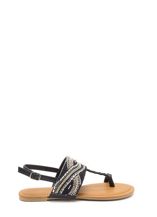 Glitz Everywhere Braided T-Strap Sandals