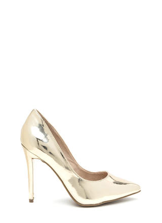 City Sleek Pointy Metallic Heels