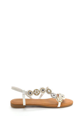Circle Around Strappy Beaded Sandals