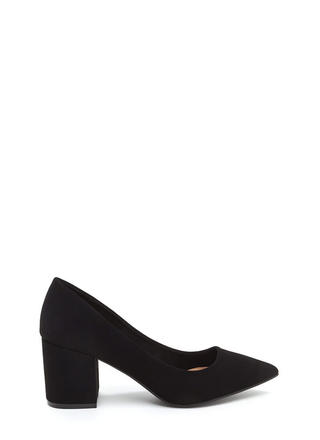 To The Point Faux Nubuck Chunky Heels