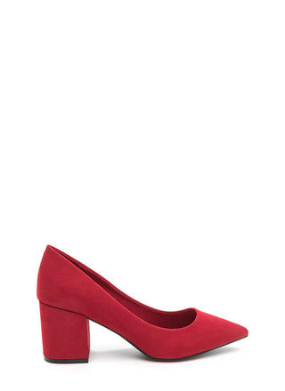 To The Point Faux Suede Chunky Heels