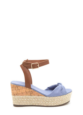 Vacay Plans Denim Espadrille Wedges