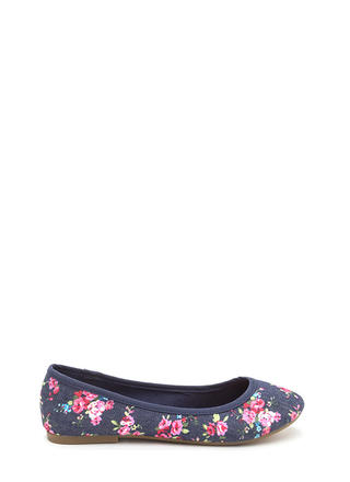 Go Anywhere Floral Denim Ballet Flats