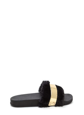 Fur The Best Metallic Slide Sandals