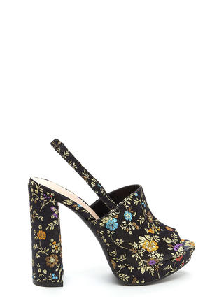 Opulent Blooms Chunky Satin Heels