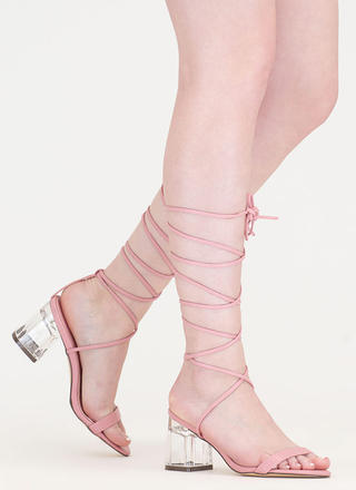 Clear The Air Chunky Lace-Up Heels
