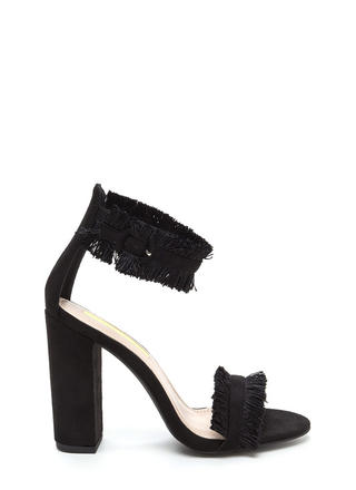 Fringe Off Chunky Faux Suede Heels
