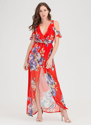 Flower Chord Sheer Plunging Maxi Dress