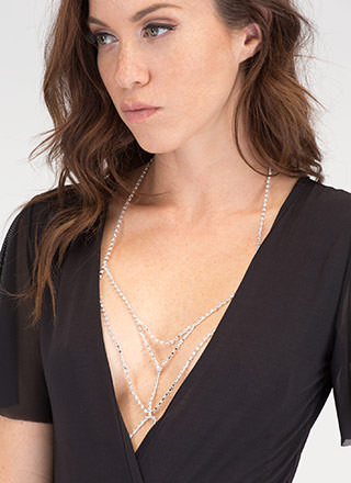 Chic Chevron Jeweled Bralette Bodychain
