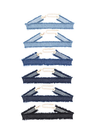 Best Fringe Forever Denim Choker Set