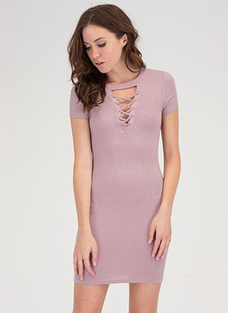 In Crowd Cut-Out Lace-Up Ribbed Dress