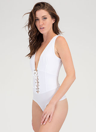 Of Corset Plunging Lace-Up Bodysuit