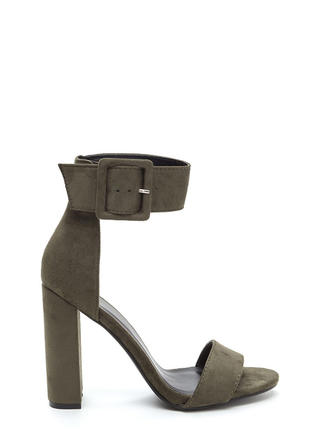 This Is It Chunky Faux Suede Heels