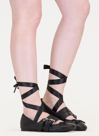 New Look Tied 'N Buckled Ballet Flats