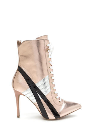 Sport These Metallic Lace-Up Booties