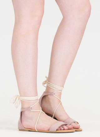 Casual Friday Tied Faux Suede Sandals