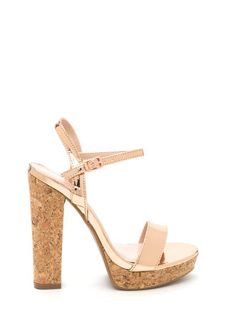 Cork It Chunky Faux Patent Platforms