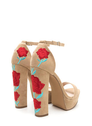 Back In Flowers Chunky Velvet Platforms