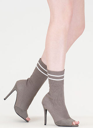 Go Team Striped Knit Sock Booties