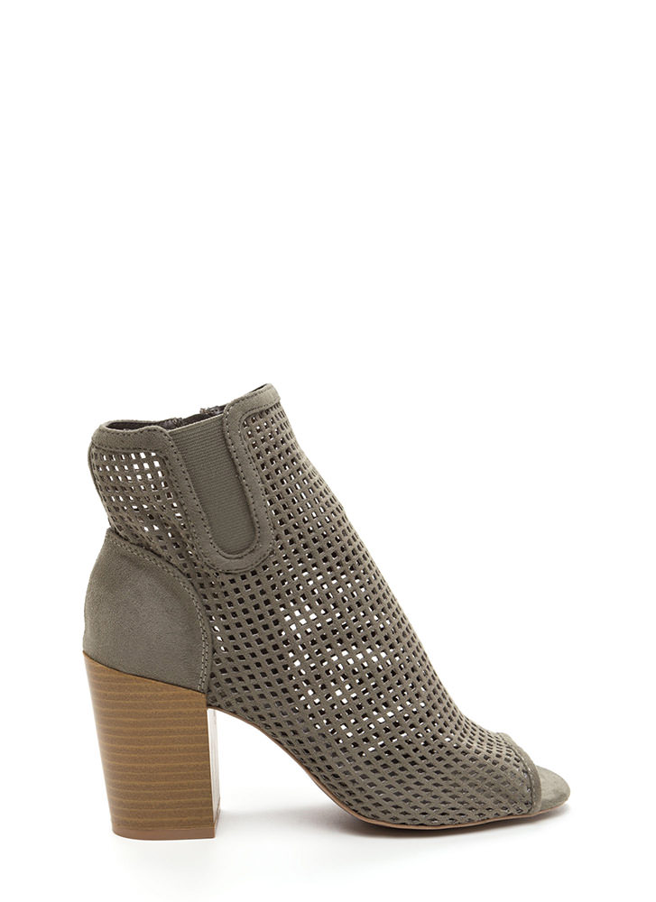 Perfect Choice Chunky Peep-Toe Booties