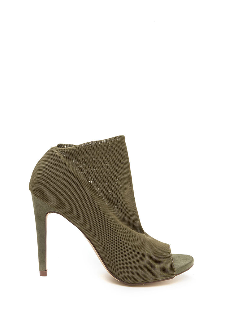 What A Hot Mesh Netted Peep-Toe Booties