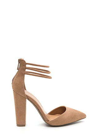 Lift Your Mood Chunky Faux Suede Heels