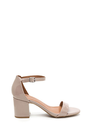 So Blocked Faux Patent Chunky Heels