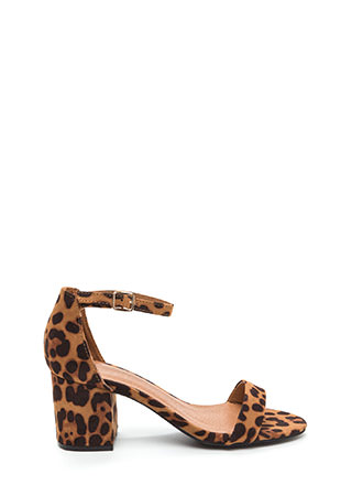 So Blocked Leopard Chunky Heels