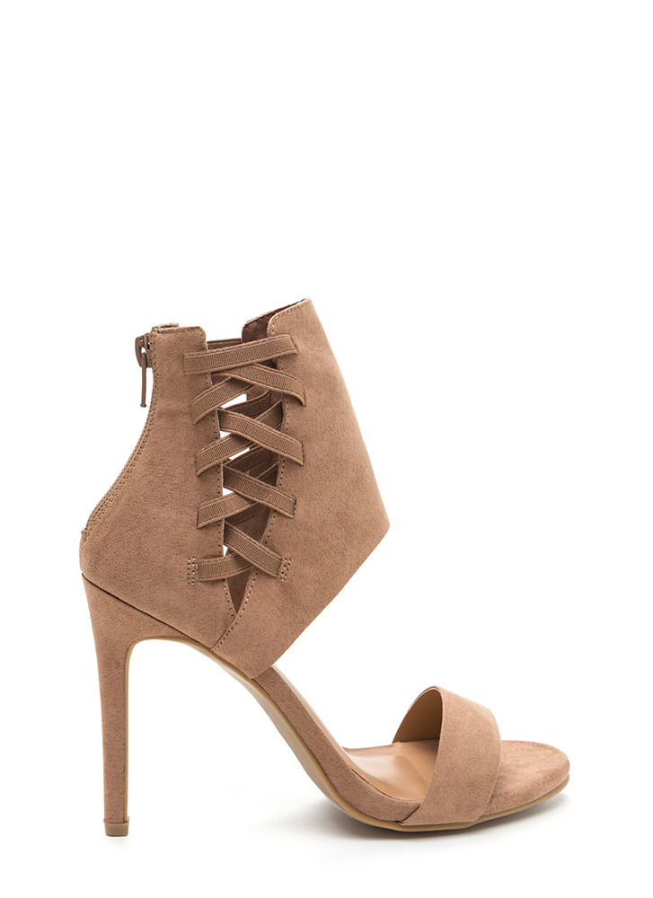 Laced The Test Faux Suede Heels