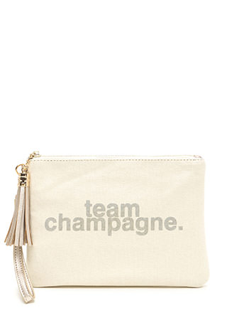 Team Champagne Tassel Clutch