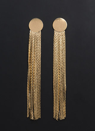 Chic Shine Long Fringe Earrings