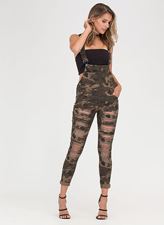 Army Brat Distressed Camo Overalls