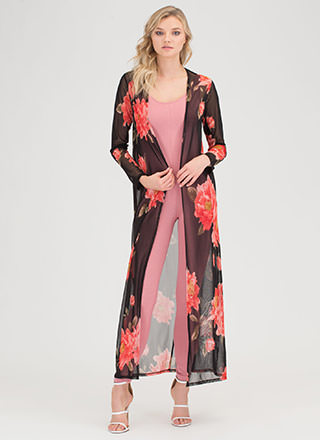 Fancy 'N Flowing Sheer Floral Duster