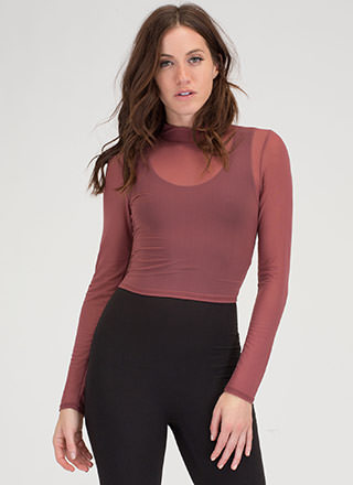 Essence Of Style Sheer Mockneck Crop Top