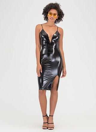 On Vinyl Plunging Faux Patent Dress