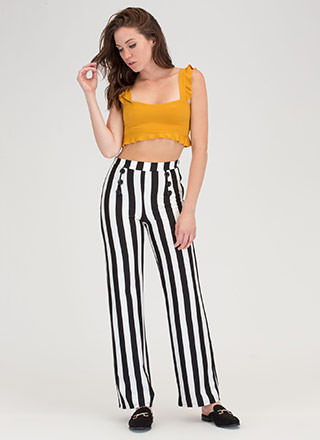 Hot Button Striped Wide Leg Pants