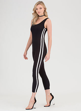 Varsity Team Striped Plunging Jumpsuit
