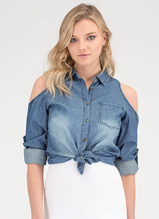You're So Cold Shoulder Chambray Top