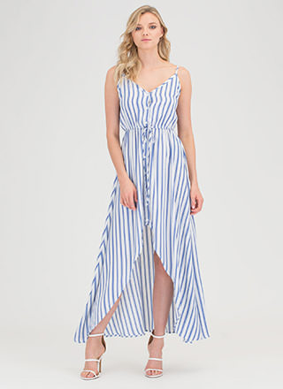 Saint-Tropez Striped High-Low Dress