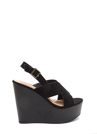 Crossed To Bare Platform Wedges