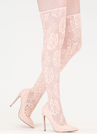 All About Lace Pointy Thigh-High Boots